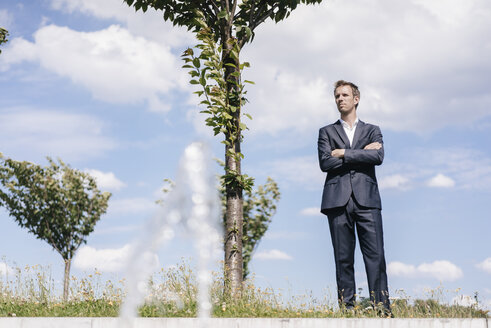 Businessman standing on a field with trees - KNSF02521