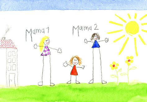 Children's drawing of lesbian couple and little girl - CMF00719