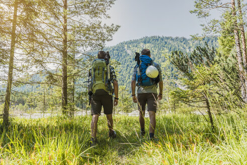 Germany, Bavaria, back view of two hikers with backpacks - DIGF02777