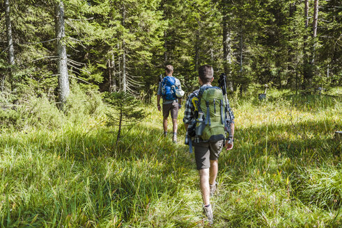 Germany, Bavaria, back view of two friends hiking - DIGF02798