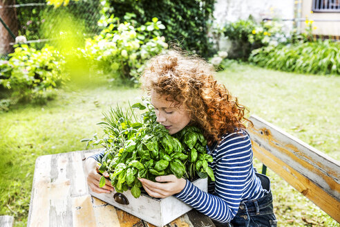 Portrait of young woman with fresh herbs in a box - FMKF04408