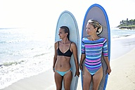 Two women on the beach with surfboards - ECPF00056