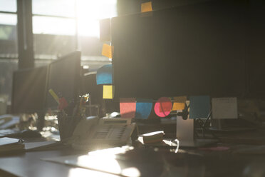 Sticky notes in backlight on a computer monitor - KNSF02801