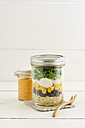 Jar of vegetarian mixed salad with Kritharaki, corn, rocket and cranberries and jar of cocktail sauce - ECF01887