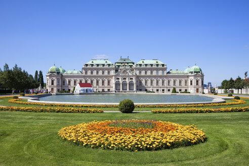 Austria, Vienna, view to upper Belvedere with pond in the foreground - ABOF00245