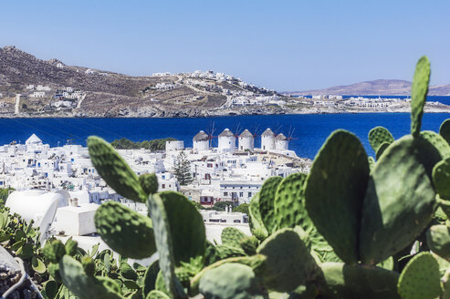 Greece, Mykonos, townscape with five historical windmills - THAF02039