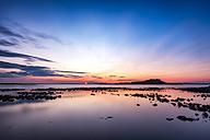 UK, Scotland, East Lothian, North Berwick, Firth of Forth, view of Fidra Island at sunset - SMAF00821