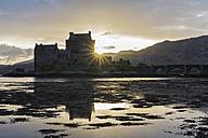 UK, Scotland, Dornie, Loch Duich, Eilean Donan Castle at sunset - FOF09355