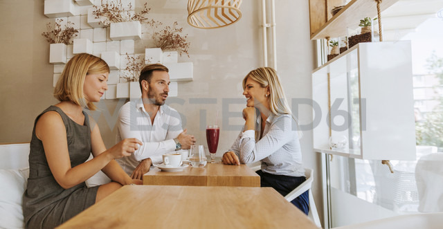 Three friends meeting in a cafe - ZEDF00857