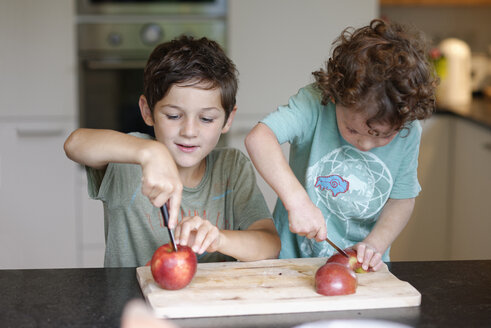 Two little brothers cutting apples in the kitchen - LBF01642