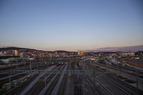 Switzerland, Zurich, view to train station from above - NGF00423