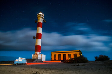 Spain, Tenerife, van parked near lighthouse at night - SIPF01778