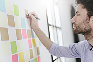 Young businessman working in office with sticky notes on wall - GIOF03283