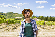 Portrait of man in vineyard - MGIF00128
