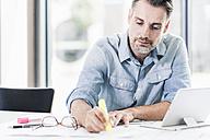 Businessman working at desk in office - UUF11715