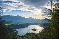 Slovenia, Bled,  Bled island and Church of the Assumption of Maria at sunrise - LOMF00628