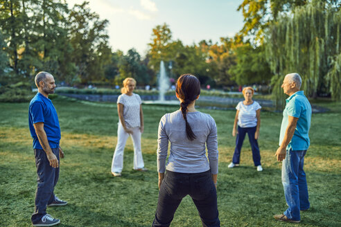 Group of people doing Tai chi in a park - ZEDF00892