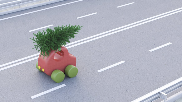 Toy car carrying Christmas tree on the roof - UWF01274
