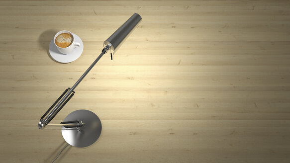 Lamp and cup of coffee on a desk - UWF01280