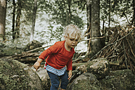 Toddler on a trip in forest - DWF00295