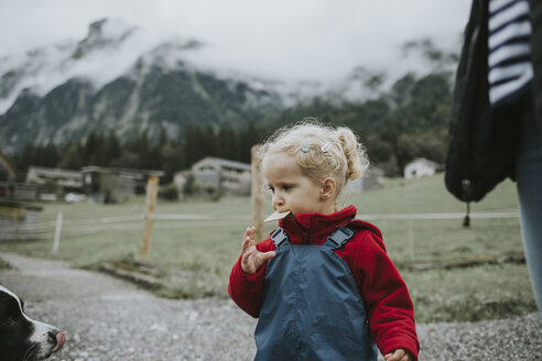 Austria, Vorarlberg, Mellau, toddler eating a cake during a trip in the mountains - DWF00313