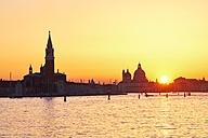 Italy, Venice, Silhouette of Santa Maria della Salute at sunset - MRF01725