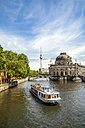 Germany, Berlin, view to Berlin TV Tower and Bode Museum with tourboat on Spree in the foreground - PU00732