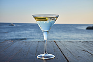 Glass of ice-cooled Martini with lime slice in front of the sea - DIKF00271