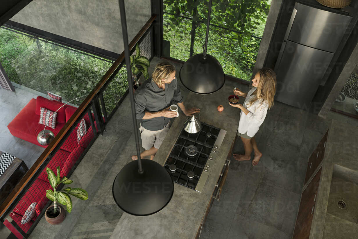 Top view of couple standing in modern design kitchen with glass facade surrounded by lush garden - SBOF00832 - Steve Brookland/Westend61