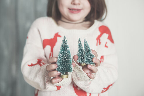 Little girl with miniature Christmas tree, close-up - RTBF01030