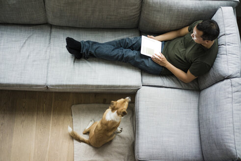 Man at home using tablet on the couch with dog beside him - MOEF00146