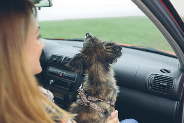 Small dog sitting on woman's lap in car - DAPF00809
