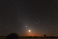 Namibia, Region Khomas, near Uhlenhorst, Astrophoto, RIsing moon and Planet Venus embedded in glowing Zodiacal Light during dawn, constellation Orion upside down - THGF00002