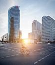 Germany, Berlin, crossroad at Potsdamer Platz at twilight - SPPF00006