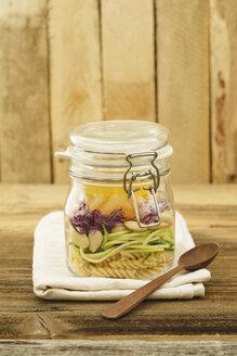 Preserving jar of vegan mixed salad with pasta - ECF01897