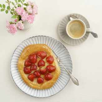 Flowers, coffee and Danish pastry with strawberries and custard - ECF01904