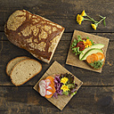 Bread with edible flowers and vegetables - ECF01916