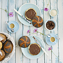 Vegan breakfast with bread rolls and chocolate spread - ECF01928
