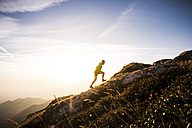 Italy, man running on mountain trail - SIPF01791
