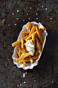 Salted sweet potato fries with rosmary and mayonnaise in porcelain bowl - CSF28326