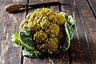 Yellow cauliflower on dark wood - CSF28341