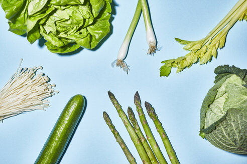Different sorts of green vegetable on blue background - PNEF00001