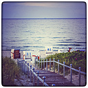 Germany, Mecklenburg-Western Pomerania, Binz, Hooded beach chairs on the beach - PUF00755