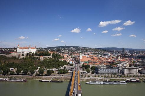 Slovakia, Bratislava, view over the city at the Danube River with Bratislava Castle - ABOF00269
