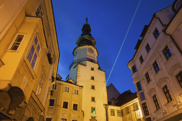 Slovakia, Bratislava, Old Town houses, Michael's Tower and Gate at night - ABOF00284