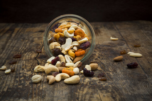 Trail mix in glass on wood - LVF06330