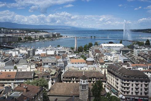 Switzerland, Geneva, view to  the city and Lake Geneva from above - HWOF00230