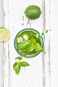 Glass of organic lime lemonade with basil - LVF06336