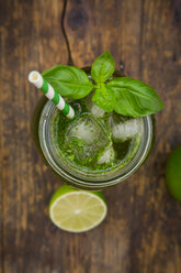 Glass of organic lime lemonade with basil - LVF06339