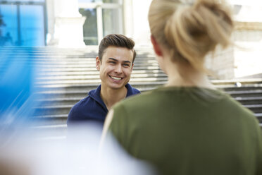 Portrait of happy young man face to face to his girlfriend - PNEF00193